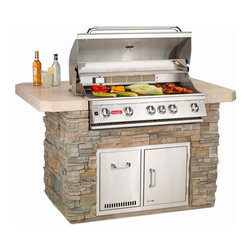 Outdoor Kitchens - Grill up some fun this summer with our stainless steel, four-burner grill.  Each grill comes with the option to expand and add more counter space and/or a refrigerator to add more to the overall outdoor kitchen experience.