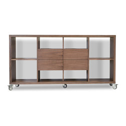 Malta Bookcase w/ drawers by sohoConcept - Use the Malta Bookcase with Drawers by itself or in combination with its sibling Malta Bookcase. Want a movable storage and display unit. Just add optional casters to your order and you'll be ready to go. This great modern piece is a keeper for sure.