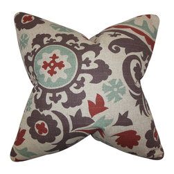 """The Pillow Collection - Wella Floral Pillow Gray Red 18"""" x 18"""" - Give your living space a little allure with this gorgeous throw pillow. This accent piece features a unique floral pattern in shades of blue, gray, red and natural. Toss this square pillow anywhere inside your home where it needs styling and comfort. Made of 81% cotton and 19% rayon fabric. Crafted in the USA."""