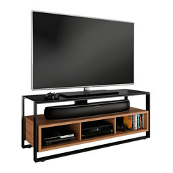 BDI - Sonda Entertainment Console - Combining the best elements of open and closed systems, the Sonda TV stand offers convenient access with an enclosed feel. The open shelf can host a soundbar, center channel speaker or several components. The lower cabinet appears to float within the black steel frame and includes a removable back panel for easy access to the rear of three component compartments. Sonda is finished with a tempered, black micro-etched glass top.