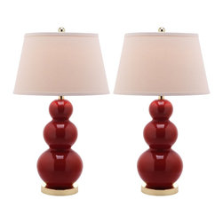 Safavieh - Safavieh Pamela Chinese Red Triple-Gourd Ceramic Lamp - Balance fashion, form and function with the Pamela Triple Gourd table lamp, its three beautifully turned Chinese red ceramic gourds graduating in size. With brushed gold stand and fittings, crisp white cotton tapered shade, and a 3-way switch that allows you to adjust the light in your room, Pamela adapts beautifully to any setting.