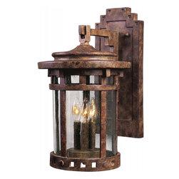 Joshua Marshal - Three Light Sienna Seedy Glass Wall Lantern - Three Light Sienna Seedy Glass Wall Lantern