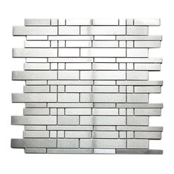 Modern Mixed Brick Pattern Mosaic Stainless Steel Tile Sample