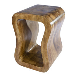 BANGUN Side Table, Solid Wood - Exquisitely turned side table BANGUN. Carved from one solid piece of SUAR wood with great wood grain.