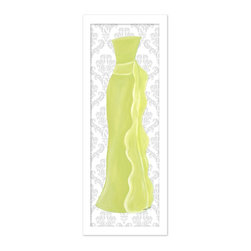 "Doodlefish - Shades of Green Dress in Silver Frame - This strapless red carpet gown artwork is framed in a choice of frames with a gray damask backdrop.  The green dress features a flowing sash and can also be purchased as a stretched canvas with a modern tiffany blue striped background.  The artwork is 12"" x 36 as a stretched canvas.  With the frame, the finished size is approximately 14"" x 40""."