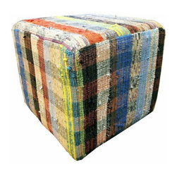 Pre-owned Bright Muti-Color Plaid Cube Ottoman - This cube shaped ottoman with a bright, multi-color plaid print is upholstered with vintage, recycled Kilims. The colorful nature and simple shape of this piece make it extremely versatile. Use it as a foot rest in the family room, additional seating option in the living room, or accent piece by a window seat in the hallway!