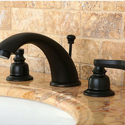 None - French Handle Oil Rubbed Bronze Widespread Bathroom Faucet - This oil rubbed bronze bathroom faucet brings sophisticated style to your bathroom design. Made from luxurious oil rubbed bronze,the faucet features dual handles with a mixing spout,allowing you to draw water of the perfect temperature.