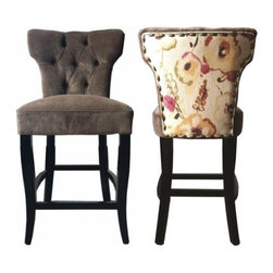 "Flora Tufted 24"" Barstool, Set of 2 - These elegant light brown and floral stools are sure to add style and class to your dining room, sitting area, living room, or even bedroom. If you are looking to make a statement, no need to look any further. Features include tufted back, accent floral fabric, and nail button trim.  This stool has a seat height of 24""."