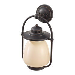 Murray Feiss - Murray Feiss OLPL7402GBZ Mc Coy 18 High 1 Light Fluorescent Outdoor Wall Lantern - As its name suggests the Dockyard outdoor lighting collection is nautically inspired.  The details of the Oil Can finish on the hardware and cage design, along with the decorative ripple in the White Opal Etched glass shade all hark back to the light fixtures seen in harbors and lighthouses of yesterday.