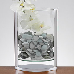 Badash Crystal Product - The Donald 14-inch Polished Aluminum and Glass Pocket Vase - The Donald 14-inch Pocket Vase features an attractive combination of polished,non-tarnish aluminum and handcrafted glass. This gorgeous 14-inch vase offers a handcrafted glass construction to enhance your floral decor presentations.