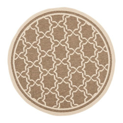 """Safavieh - Indoor/Outdoor Courtyard Round 5'3"""" Round Brown - Bone Area Rug - The Courtyard area rug Collection offers an affordable assortment of Indoor/Outdoor stylings. Courtyard features a blend of natural Brown - Bone color. Machine Made of Polypropylene the Courtyard Collection is an intriguing compliment to any decor."""
