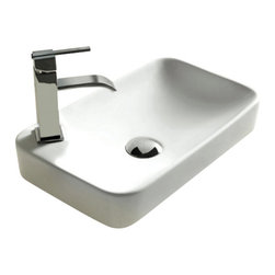 Caracalla - Rectangular White Ceramic Self Rimming bathroom Sink, One Hole - Contemporary design, rectangular white ceramic self rimming bathroom Sink with one hole. Stylish self-rimming washbasin comes without overflow. Made in Italy by Caracalla.