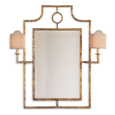 Kathy Kuo Home - Doheny Hollywood Regency Bamboo Gold Leaf Mirror With Sconces - This mirror and sconce combo offers up illuminating possibilities. With all the inherent glamour of Hollywood Regency style, its glitz factor is achieved through hand-finished gold or silver leaf around the metal frame. It's a welcome addition in your entryway, above a console or in the master bath.