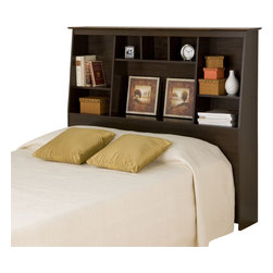 Prepac - Prepac Espresso Tall Bookcase Headboard - Twin - Get the most out of your bedroom's storage potential with the twin or full/queen tall slant-back bookcase headboard. With its unique yet versatile style, this headboard will perfectly complement your bedroom furnishings. Eight storage compartments of varying sizes add storage for everything from your bedside books to decorative odds-and-ends, without needing extra floor space. Perfect for a smaller bedroom, your twin bed completes the deal. This free-standing product is designed to be paired with any twin, full or queen bed including our mate's platform storage beds and our tall captain's platform storage beds.
