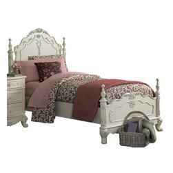 Homelegance - Homelegance Cinderella Kids' Poster Bed in White - Twin - The Cinderella collection is your little Child's dream. The Victorian styling incorporates floral motif hardware, ecru painted finish and traditional carving details that will create the feeling of a room worth of a fairy tale princess.
