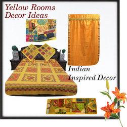 Yellow Matching Bedroom Decor - http://www.mogulinterior.com/yellow-cotton-bedspreads-dandiya-print-bedcover.html