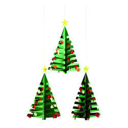 "Flensted Mobiles - Calendar Tree 3 Mobile - You'll cheer, ""O Christmas tree, O Christmas tree, O Christmas tree!"" this holiday with this festive mobile. Each three is delightfully trimmed with red and white ornaments."