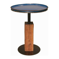 Groovystuff - Groovystuff Large Cobalt Moonshine Side Table - The Moonshine End Table mixes the best of both worlds-reclaimed steel drum top mounted on a reclaimed teak base. It's urban and edgy and adds a pop of electric color to your home.