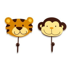 Nojo - NoJo Jungle 2-Pack Decorative Wall Hooks - Decorative Wall Hooks come in a set of 2, a lion and a monkey. Hooks easily coordinate with many nursery or child room themes.