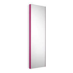 """WS Bath Collections - Speci 12.8"""" x 39.4"""" Wall Mounted Mirror - Speci 5673.16 Mirror Wall-Mount in Glass and Powder Coated Aluminum, Pink Frame, Made in Italy"""