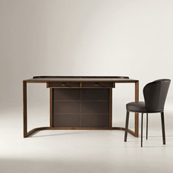 Giorgetti - Giorgetti ION Writing Desk - The ION Writing Desk has a frame in solid walnut canaletto wood.  The top, the two drawers and the front closing panel are covered with saddle leather available in different color shades.  The metallic parts are painted in a bronze color.  Price includes shipping to the USA.  Manufactured by Giorgetti.