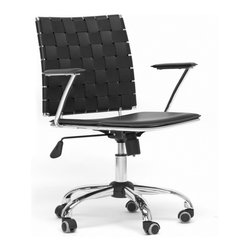 "Baxton Studio - Baxton Studio Vittoria Black Leather Modern Office Chair - Add stylish,ting to your home office furniture or use our Vittoria Modern Office Chair as the perfect leather office chair for your business. Durable black bonded leather on the seat is smooth and is accented with contrasting cream stitching. Conversely, the leather on the backrest is intricately woven.  Light foam padding adds additional comfort. The dependable steel frame is beautifully finished with high-shine chrome plating and tipped with five black caster wheels.  The Vittoria Office chair swivels 360 degrees and features an adjustable seat height with tilt control.  Additionally, the handsome chair requires assembly and is made in China.  To clean, wipe with a damp cloth.  Also available in eggshell white and matching counter height and bar stools in brown or black (each sold separately). product dimension:23.625""Wx19""Dx(32""-36"")H, seat'sion:19.375""Wx17""Dx(16.5""-20"")H with arm height 8.25"" from the seat"