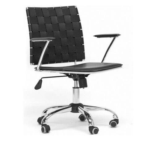 Baxton Studio - Baxton Studio Vittoria Black Leather Modern Office Chair - Add stylish seating to your home office furniture or use our Vittoria Modern Office Chair as the perfect leather office chair for your business. Durable black bonded leather on the seat is smooth and is accented with contrasting cream stitching. Conversely, the leather on the backrest is intricately woven. Light foam padding adds additional comfort. The dependable steel frame is beautifully finished with high-shine chrome plating and tipped with five black caster wheels. The Vittoria Office chair swivels 360 degrees and features an adjustable seat height with tilt control. Additionally, the handsome chair requires assembly and is made in China. To clean, wipe with a damp cloth. also available in eggshell white and matching counter height and bar stools in brown or black (each sold separately).