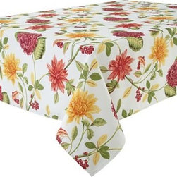 Paradise Indoor/Outdoor Tablecloth - Bold flowers on a tablecloth scream for spring. Go bright and loud for a fabulous boost this season.