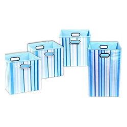 Sky Stripes Organization Bundle- 3 Storage Bins, 1 Laundry Hamper