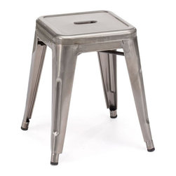 Marius Stool- Gunmetal - Zuo Era. 15w x 15d x 18h. Available for order at Warehouse 74.