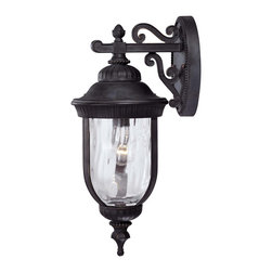 Savoy House - Savoy House 5-60321-186 Castlemain Wall Mount Lantern - An incredibly versatile and economical group with Clear Watered glass, available in a variety of sizes, plus post and hanging. Also available in Energy Star with Tuscan glass. Black with Gold finish and Clear Hammered glass.