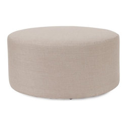 Howard Elliott - Prairie Linen Natural Universal 36 Round Cover - The Universal 36 round in Prairie Linen is a great addition to any room. Velcro fasteners and tailored design make it so you would never know this piece is slipcovered. Cleaning and updating is a breeze, change your look on a whim with new covers!