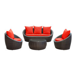Modway - Modway EEI-643 Avo 4 Piece Sofa Set in Brown Red - Lounge confidently and transform casual expeditions into life-changing accomplishments with this modern outdoor set.  Entertain guests from far and near as you jump-start gatherings and transcend starting points of engagement. Absorb true relaxation and merge with the moment into a private seating occasion to remember.