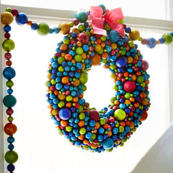 "Horchow - 16"" Multicolored Ball Wreath - A bit modern, a bit retro, this nontraditional wreath brings vibrant color to holiday displays. Perfect for the wall, a door, or over the mantel, it also works well with a hurricane for a unique centerpiece. Made of plastic and Styrofoam®. 16""Dia..."