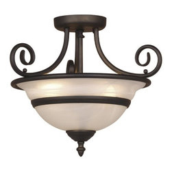 Vaxcel Lighting - Vaxcel Lighting CC11816OBB Da Vinci Traditional Semi Flush Mount Ceiling Light - Can be installed as a pendant.