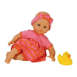 Corolle Mon Premier Tidoo Mon Premier Bebe Bath Girl 12 in. Doll - What fun, the Corolle Mon Premier Tidoo Mon Premier Bebe Bath Girl 12 in. Doll is adorable, posable, and floats! Perfect for bath time, this dolly is designed for kids 18 months and older. She has a sweet face and big blue eyes that close when she goes to sleep. Her kissably soft vinyl skin is gently scented with vanilla. Her soft body is filled with polystyrene beads that are quick to dry, make her posable, and let her float with ease. This bath time doll is dressed in a cute swimming costume with cap, pacifier, and rubber ducky.About CorolleCorolle is a premier doll brand designed in the storybook region of France's Loire Valley. Since 1979, Corolle has been creating highly detailed dolls designed to be cherished by children everywhere. Every Corolle doll will inspire magical childhood memories that will last for a lifetime. Corolle dolls look and feel as real as possible. They're created of soft, supple vinyl, have natural-looking hair, and wear on-trend fashions. Corolle dolls are designed durable enough to withstand years of hugs and love. Perfect heirloom treasures! Doll play encourages children to explore different roles from caring for and sharing hopes and dreams to finding an understanding playmate and friend for life. Corolle designs dolls for children of all ages.There is a range of Corolle dolls designed for specific ages. Babi Corolle is a soft-body doll perfect for newborn babies and older. It's machine-washable, feather-light, and made to be loved. Mon Premier Corolle is designed for babies 18 months and older. This line includes a range of baby dolls, clothing, and accessories. The dolls are lightweight and soft. The clothing has Velcro closures so it's easy to put on and take off. Mon Classique Corolle is a classic baby doll designed for toddlers to love and nurture. This line has a complete assortment of larger baby dolls, clothing, and nursery accessories. Some even have hair that can be brushed and styled. Others coo, giggle, drink, and go potty. Mademoiselle Corolle is a toddler doll for toddlers. These dolls have expressive faces, silky long hair, and are dressed in the latest styles. This doll will be your little one's best friend. She's perfect for sharing secrets and working out new hairstyles and fashion. Les Cheries Corolle is designed for little ones four years and older. She has long, lush, rooted hair and an amazing wardrobe of stylish outfits. This doll provides endless hours of fashion and hair play.