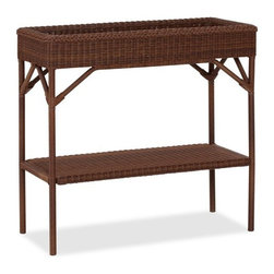 Palmetto All-Weather Wicker Bar Console - Limited counter space makes it hard to prepare drinks like a pro, which is a problem if you are a big fan of entertaining. Try this wicker side table that will get you on the way in no time.