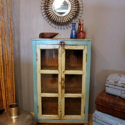 Blue and Green Antique Glass Cabinet
