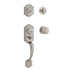 "KWIKSET CORPORATION - MONTARA HANDLESET S NICKEL SMT - One piece handleset with single cylinder deadbolt and interior trim; 2 points of locking, on the deadbolt and the handleset, provide double the security; the adjustable through bolt at the bottom of the handleset allows for easy installation and provides   you peace of mind knowing that it will adjust to fit the bottom hole in your door. With the arched design, the Montara handleset will add both security and style to your front door. 2-Point Locking for Increased Security; new easy fit technology _ adjusts   to fit the hole in your door. ANSI/BHMA Grade 2 Certified Security featuring ""SmartKey"" Re-key technology. The lock you can re-key yourself in seconds. Patented side locking bar technology offers improved security by protecting against loc  k bumping, an attack technique used to defeat conventional pin & tumbler locks. Lifetime mechanical and finish warranty.      JUNO INTERIOR KNOB  Clear Pack - SmartKey  Finish=Satin Nickel  This item cannot be shipped to APO/FPO addresses.  Please accept our apologies"