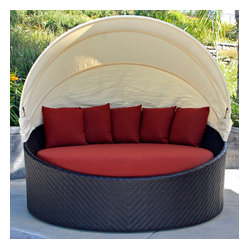 Wink Modern Outdoor Canopy Daybed, Henna Cushion