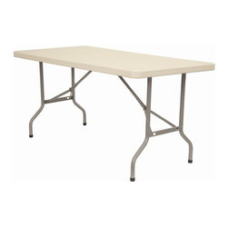 KFI Seating - 72 in. Rectangular Blow-Molded Folding Table - Lightweight blow-molded folding table. 1.75 in. Thick granite table top. 17 Gauge - 1 in. Grey powder-coated steel legs. Easy to move and store. Assembles in seconds. 72 in. L x 30 in. W x 29 in. H