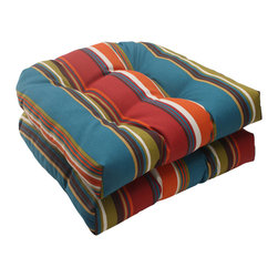Pillow Perfect - Pillow Perfect Westport Polyester Teal Tufted Wicker Outdoor Seat Cushions (Set - Outdoor seat cushions cushion your bottom as you relax in your wicker chair. Each UV-protected cushion has a bold, colorful design and is made from polyester. A sewn-seam closure keeps the plush filling from spilling out of each cushion.