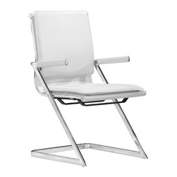 Zuo - Lider Plus Conference Chair, White - The Lider Office Collection is sleek, ergonomic and a great addition to any office space.  Take the workspace to the next level with the Lider Plus Conference Chair, available in black or white.  Leatherette and chromed steel make this chair functional and durable for everyday use.  Not only does this chair have a professional look, it offers excellent support with padded back and seat cushions.  The armrests offer a more structured look, leaving the home office or conference room with clean and polished lines.