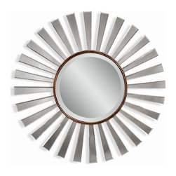 Bassett Mirror - Bronze-Clear Decorative Round Wall Mirror - Bronze Finish and Clear Mirror - Round. Measures: 36 in. Round.