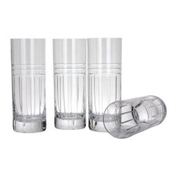 Reed and Barton Tempo Euro Hiball - Set of 4 - Serve a classic Tom Collins cocktail in high style with the Reed and Barton Tempo Euro Hiball Glass. This barware staple is a handsome example of quality European craftsmanship. Each hiball glass is made of leaded crystal known for brilliance and clarity and is hand cut with the bold, modern Tempo Euro pattern. This is a set of four hi ball glasses. As with all quality crystal bar glasses, they should be hand washed.About Reed & Barton/Eureka Mfg.Founded in 1824, Reed & Barton enjoys a reputation as one of the country's foremost marketers of fine tableware and giftware. Recognized for design excellence and the highest quality workmanship, Reed & Barton offers an array of exceptional products that satisfy a broad range of tastes. Today the Reed & Barton name graces fine flatware, dinnerware, crystal, giftware, and picture frames, as well as a wide variety of expertly made, handcrafted flatware and jewelry chests. For more than 183 years, our products have been the choice of those with discriminating taste. Our unwavering commitment to quality and customer satisfaction can be found in every product that bears the Reed & Barton name.Attention California Residents - Proposition 65 Warning: Consuming foods or beverages that have been kept or served in leaded crystal products or handling products made of leaded crystal will expose you to lead, a chemical known to the State of California to cause birth defects or other reproductive harm.