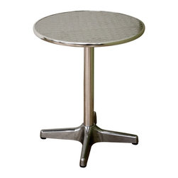 """Wholesale Interiors - Eustace Round Bar Table - Reminiscent of the style of a 1950s diner, this small kitchen or dining table comfortably seats 1-2. Construction consists of a steel base and frame and a table surface covered in aluminum. The table's surface features a throwback-styled repeating circular pattern in brushed aluminum. Included for the bottom of the base are black plastic floor protectors that also enhance stabilization of the table. Assembly is required. Product dimension: 23.5""""W x 23.5""""D x 28.5""""H."""
