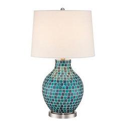 Teal Blue 27 1/2-Inch-H Mosaic Jar Table Lamp -