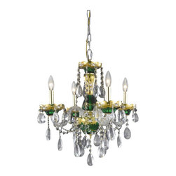 Elegant Lighting - Elegant Lighting 7810D19GN Alexandria 4-Light, Single-Tier Crystal Chandelier, F - Elegant Lighting 7810D19GN Alexandria 4-Light, Single-Tier Crystal Chandelier, Finished in Green with Clear CrystalsElegant Lighting 7810D19GN Features:
