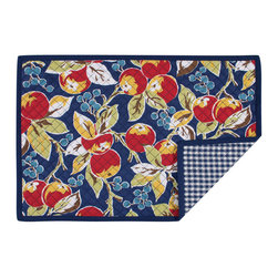 KAF Home - Vintage Fruit Quilted Placemat, Set of 4 - This lovely 1940's inspired placemat is a fresh addition to her kitchen table. Classic fruit design is bold, colorful, and artistic. Complements a more casual setting, yet gives a touch of elegance.