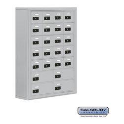 Salsbury Industries - Cell Phone Storage Locker - 7 Door High Unit - 20 A Doors and 4 B Doors - Cell Phone Storage Locker - 7 Door High Unit (8 Inch Deep Compartments) - 20 A Doors and 4 B Doors - Aluminum - Surface Mounted - Resettable Combination Locks
